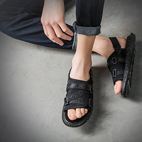 5 Pantofole Da EU37 CN37 Nero Da HUO Fondo Casual UK4 Morbide dimensioni Con Movimento Nero Uomo Bianco L'estate Scarpe Per Da Nero Casual Spiaggia Sandali Viaggio 5 Colore xw7XSFqSB