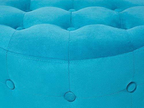 Beliani Pouf Poggiapiedi Ottomano in Tessuto Azzurro Stile Chesterfield Tampa