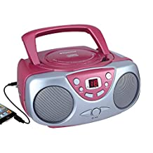 Curtis SRCD243M-PINK Sylvania SRCD243 Portable CD Player with AM/FM Radio, Boombox (Pink)