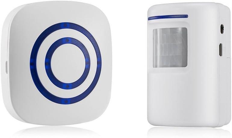 TOOGOO Detector sensor de movimiento de puerta de negocios inalambrico Alarma de entrada de seguridad de casa con 1 receptor enchufable y 1 detector PIR resistente a la intemperie (blanco)