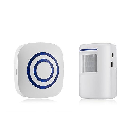 TOOGOO Detector sensor de movimiento de puerta de negocios inalambrico Alarma de entrada de seguridad de casa con 1 receptor enchufable y 1 detector PIR ...