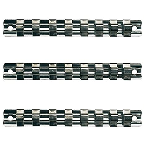 3 x Aufsteckschiene//Klemmleiste//Nusshalter//Aufsteckleiste//Ordnungssystem mit 24 verschiebbare Clips f/ür 1//2 3//8 1//2 Vierkant N/üsse Eins/ätze 240 mm