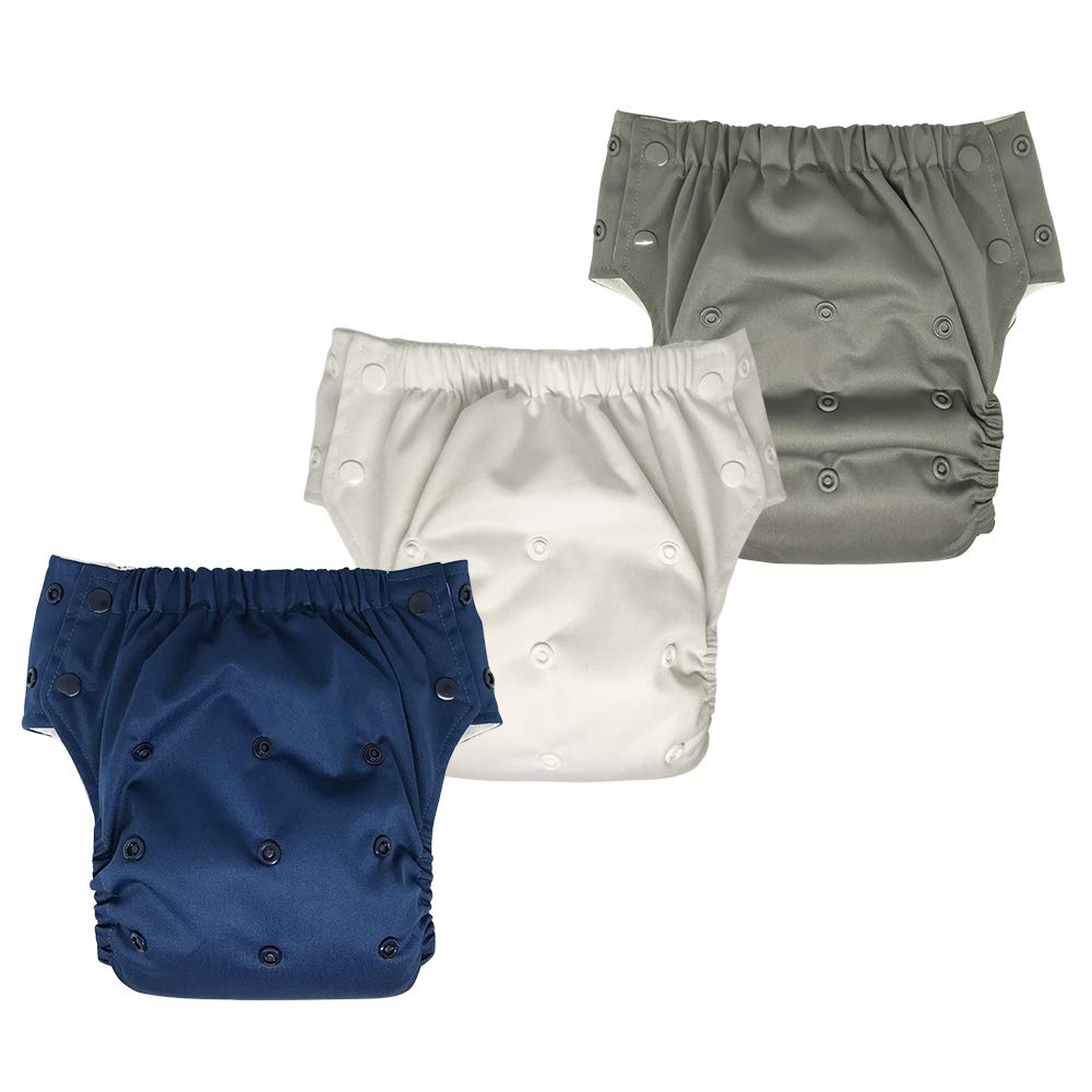 Reusable Swim Diaper Training Pants – Adjustable Pull Ups with Insert for Toddler Girls and Boys 3-Pack (Size 2/15-35Lb, Boy) EcoAble Reusable Swim Diaper 3in1-2-3pack