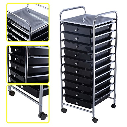 Rolling Storage Cart Paper Office School Organizer Black 10 Drawer (Wicker Wholesale Hearts)