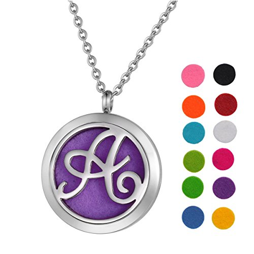 "Price comparison product image Stainless Steel Aromatherapy Essential Oil Diffuser Necklace with ""A"" Letter,Silver Tone"