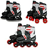 SK8 Zone Boys Red 3in1 Roller Blades Inline Quad Skates Adjustable Size Childrens Kids Pro Combo Multi Ice Skating Boots Shoes New (Small 9-12 (27-30 EU))