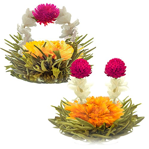 Blooming Tea Flowers - Litchi & Peach Flowering Teas – Hand-Tied Flowering Tea Balls - Each Tea Blossom Can Be Used Multiple Times (2-Pack) (Flowering Blooming)