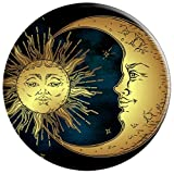 Boho Chic Golden Sun Crescent Moon And Stars Over
