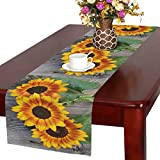InterestPrint Old Wood Boards with Sunflowers Vintage Concept Table Runner Linen & Cotton Cloth Placemat Home Decor for Kitchen Dining Wedding Party 16 x 72 inches