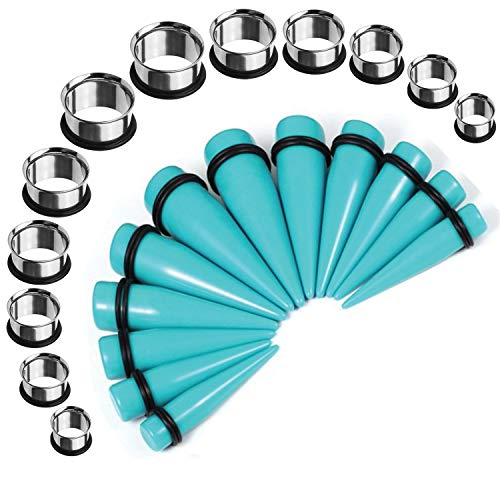 BodyJ4You 24PC Big Gauges Kit Stretching 00G-20mm Turquoise Acrylic Tapers Steel Plugs Tunnels