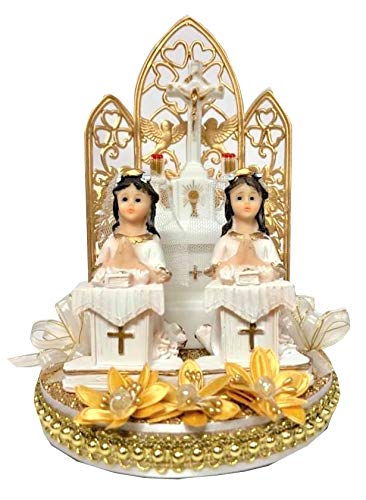 First Holy Communion Christening Praying Girl Twins On Pedestals Cake Topper ()
