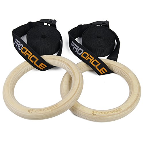 PROCIRCLE Wood Gymnastic Rings - DIA 1.25' - Workout For Home Gym & Fitness - Great for Your Muscle Ups, Pull Ups & Strength Training