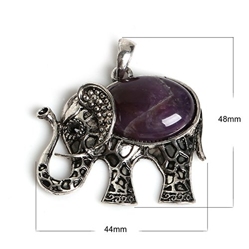 Antique Silver Natural Amethyst Stone Elephant Necklace Pendants Charms Craft Jewelry Making Findings DIY