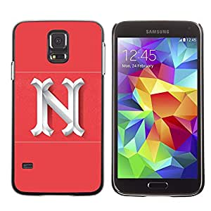 LECELL--Funda protectora / Cubierta / Piel For Samsung Galaxy S5 SM-G900 -- N New York Letter Pink White Initial --