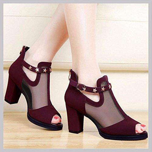 KHSKX-Vino Rojo Zapatos De Mujer Única De 8 Cm De Espesor Con Zapatos High-Heeled Verano Los Nuevos Peces Nariz Hilados Neto Zipper Dark-Rivet Transpirable Zapatos De Mujer 35 36