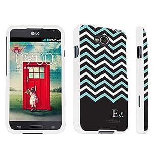 DuroCase ? LG Optimus L70 / LG Optimus Exceed 2 Hard Case White - (Black Mint White Chevron E)