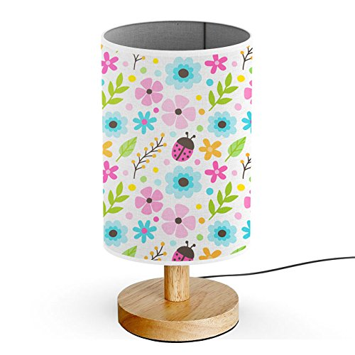 ArtsyLamp - Wood Base Decoration Desk / Table / Bedside Lamp [ Colorful Floral Ladybug ]