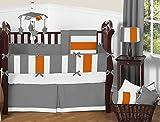 Sweet Jojo Designs Modern Gray and Orange Stripe Print Boys Baby Bedding 9 Piece Crib Set with bumper