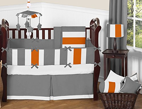 Sweet JoJo Designs 2-Piece Gray, Orange and White Decorative Accent Throw Pillows for Stripe Collection