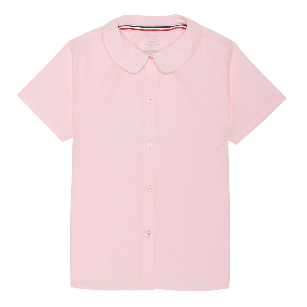 French Toast Girls' Short Sleeve Modern Peter Pan Collar Blouse