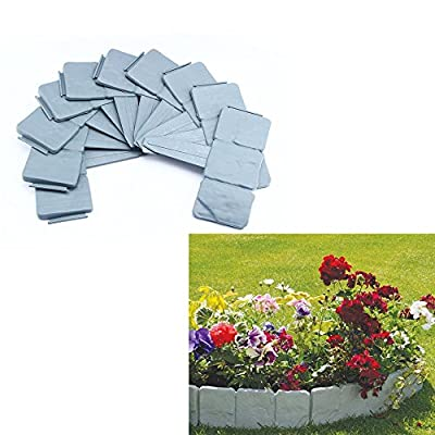10Pcs Gray Cobbled Stone Effect Plastic Garden Lawn Edging Plant Tree Border