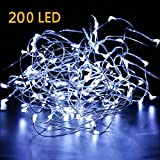 EXTRA LONG 70ft 200LED Fairy Starry String Lights Pure White LED's on a Flexible Sliver Copper Wire, Perfect For Parties, Bedrooms, Garden, Patio, Backyard, Indoor and Outdoor