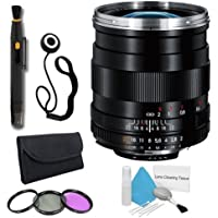 Zeiss 28mm f/2.0 Lens for Nikon Digital SLR Cameras + 58mm 3 Piece Filter Kit + Lens Cap Keeper + Deluxe Cleaning Kit + Lens Pen Cleaner DavisMAX Bundle - International Version (No Warranty)