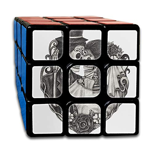 Rubiks Cube by DAIYU Day Skull Hand Drawing On Dead Wedding Halloween Dia Catrina Love Mexican 3x3 Smooth Magic Square Puzzle Game Brain Training Game for Adults -