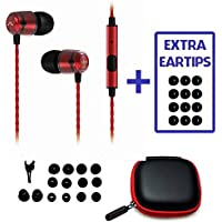 BONUS Pack! SoundMAGIC E50S Noise Isolating In-Ear Headphones w. Microphone and Remote for iPhones, Android, Samsung Galaxy (RED)