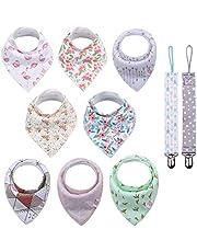 Conleke Baby Bandana Drool Bibs, Unisex 8 Packs Baby Bibs Organic Cotton Soft