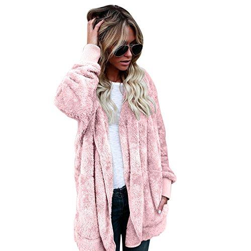 (HOSOME Women Jacket Hoodies Hooded Long Coat Parka Outwear Cardigan Coat Top Pink)