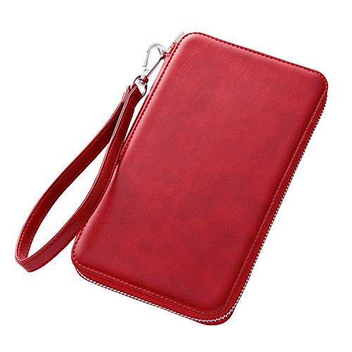 Colorful Strap with Leather Pouch Case for iPhone 6 Plus (Red)
