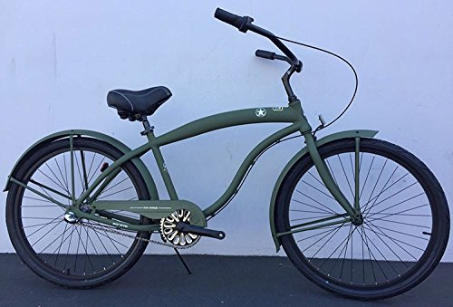 Men\'s 3-Speed Aluminum Beach Cruiser Frame Color: Flat Army Green ...