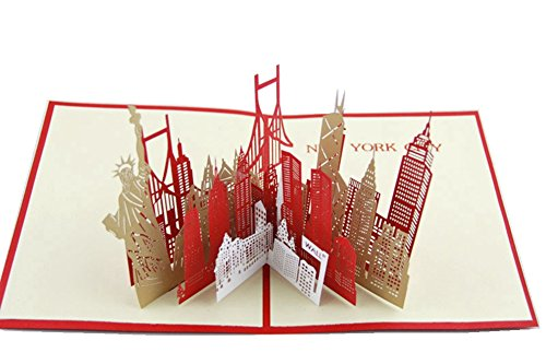 IShareCards® Handmade Buildings 3d Pop up Thank You Greeting Cards With Envelope (New York Silhouette)