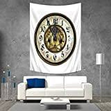 Clock Wall Tapestry Antique Theme a Vintage Clock with a Face on It Stylish Modern Design Pattern Home Decorations for Living Room Bedroom 54W x 84L INCH Gold and White