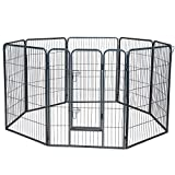 Wire Pen Dog Fence Playpen - Pet Dogs & Cats Outdoor Exercise Pens - Tube Gate w/Door - (8 Panel / 30 Square Feet Play Yard) Heavy Duty Portable Folding Metal Animal Cage Corral - 40