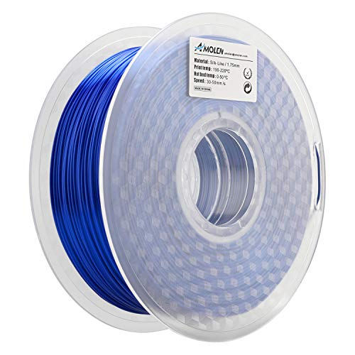 AMOLEN PLA 3D Printer Filament, 1.75mm, Sapphire Blue Silk 1 kg Spool, Includes Sample Silvery Grey Filament