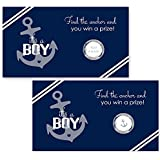 Nautical Baby Shower Scratch Off Party Game 28 pc. Navy & White