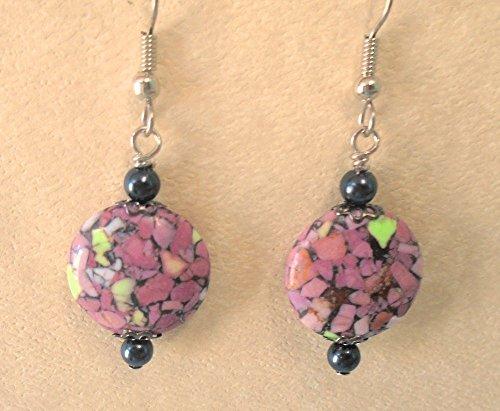 Light Purple - Pink - Black 16mm Mosaic Turquoise Beads Earring Set