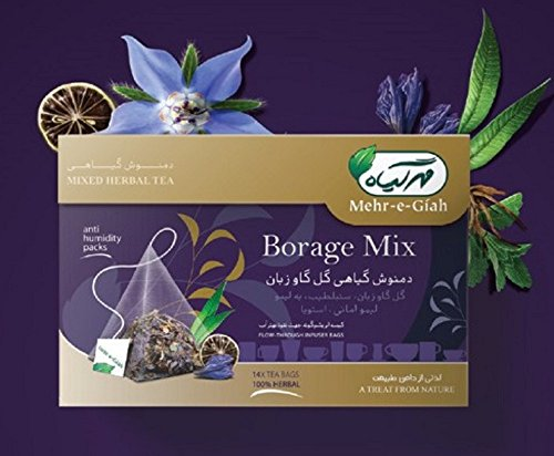 Borage Tea Mixed with Lemon Verbena, Relieve Stress, Reduce Inflammation, 14 Tea Bags