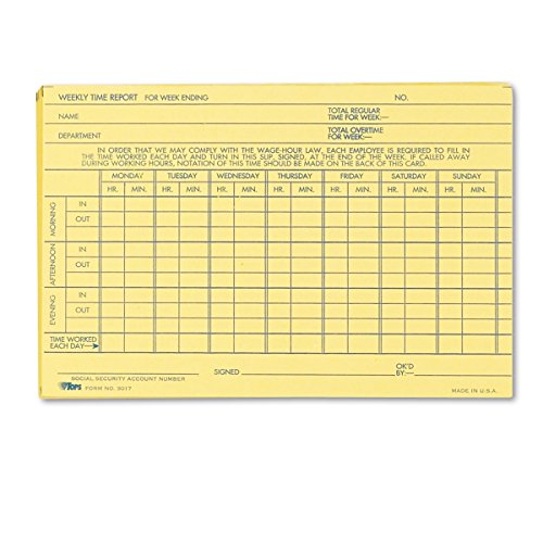 Tops Weekly Time Sheet - TOPS Weekly Time Report Card, 6 x 4 Inch, Index Bristol Stock, 100-Count, Buff (3017)