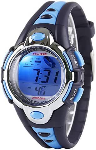 Kid Watch Multi Function Digital LED Sport 50M Waterproof Electronic Digital Watches for Boy Girl Children Gift Blue