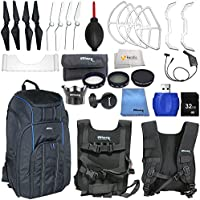 Accessory kit for DJI Phantom 4 includes Backpack Pro II + 2 Pairs of Carbon Fiber Propellers + 2 Pairs of White Propeller Blades + 32GB SD Memory Card + High Speed Card Reader & More!