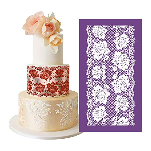 AK ART Kitchenware Alencon Rose Flower Lace Mesh Cake Stencils Royal Icing Cookie Decorating Template Fondant Decoration Edible Art Bakery Tools Purple 13.4×7.5in MST-53 (Mesh Cake Stencil)