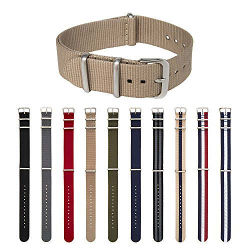 ARCHER Watch Straps, Premium Nylon, Choice of Color and Size (Khaki, 18mm)