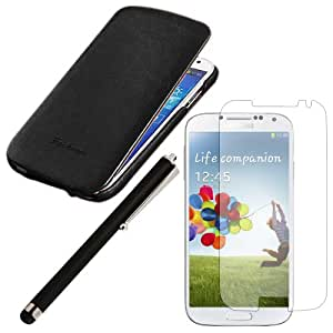 Black - Luxury Vertical Flip Case PU Leather Magnetic Flip Cover Folio Case With Screen Protector And Stylus Touch Pen for Samsung Galaxy S4 i9500