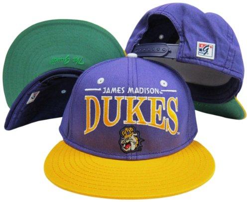 (James Madison Dukes Purple/Yellow Snapback Adjustable Plastic Snap Back Hat/Cap)