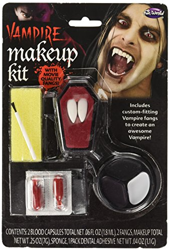 Fun World Unisex-Adult's Vampire Fangs and Make-up Kit, Multi, Standard