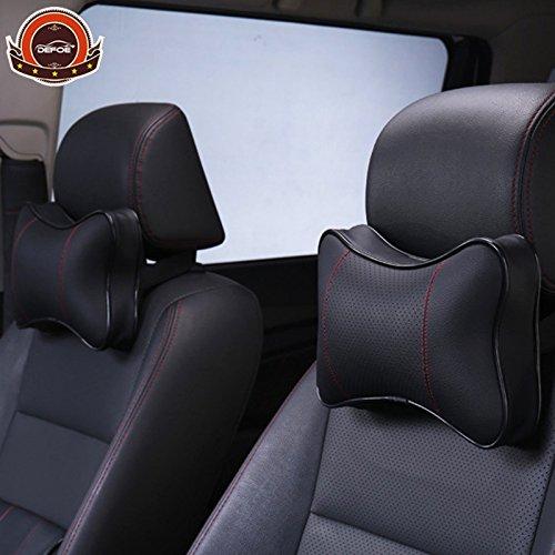 CALAP-STORE - Luxury Car Neck Waist pillow 2pcslot seat backrest Headrest Car Seat Cushion Memory Cotton filler PU Leather material