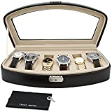 Tech Swiss TSA653BLK Watch Box Storage Case For 6 Watches Black Leather Lock
